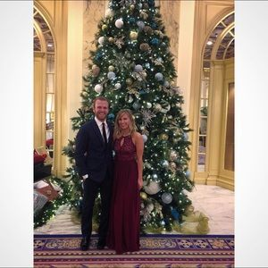 Holiday party /fall wedding maxi dress burgundy